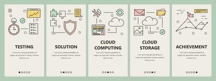 Dirigez la ligne mince bannières de calcul de verticale de concept de nuage plat de conception illustration stock