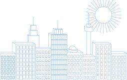 Dirigez la ligne mince bleue l'illustration 3D sans couture du grand isola de ville illustration libre de droits