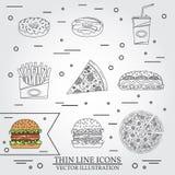 Dirigez la ligne mince butées toriques d'icône, pizza, fritures, soude, hot-dog et hamburger Pour le web design et l'interface d' Image stock