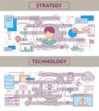 Dirigez la ligne mince des bannières stratégie de design et de concept plats de technologie illustration de vecteur