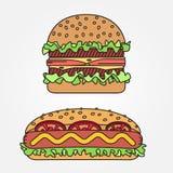 Dirigez la ligne mince hot-dog et hamburger d'icône Pour le web design et l'AP Photographie stock libre de droits