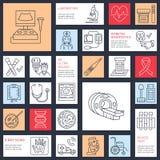 Dirigez la ligne mince icône du matériel médical, recherche contrôle de santé, éléments d'essai - IRM, rayon X, glucometer, sang Photo libre de droits