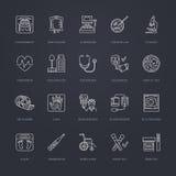Dirigez la ligne mince icône du matériel médical, recherche Visite médicale, éléments d'essai - IRM, rayon X, glucometer, tension Images libres de droits
