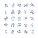 Dirigez la ligne mince icônes de famille et d'enfants réglées Photo stock