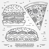 Dirigez la ligne mince pizza d'icône, hot-dog et hamburger Pour le desig de Web Images stock