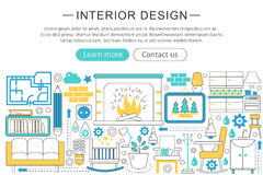 Dirigez la ligne moderne concept plat de décor de conception intérieure En-tête de site Web d'icônes de décoration de conception  Image stock