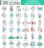 Dirigez la ligne plate d'aventure de camping icônes d'ensemble pour des apps et le web design Icône d'aventure de camping Photographie stock