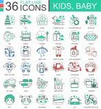 Dirigez la ligne plate d'enfants de bébé icônes d'ensemble pour des apps et le web design Icône d'enfant de bébé Photos stock