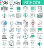 Dirigez la ligne plate de couleur d'école icônes d'ensemble pour des apps et le web design L'éducation d'école usine des icônes Photos stock