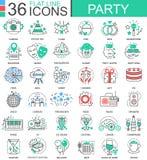 Dirigez la ligne plate de couleur de club de partie icônes d'ensemble pour des apps et le web design Heureux refroidissez les élé Photographie stock