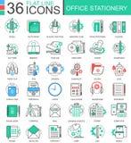 Dirigez la ligne plate de couleur de papeterie de bureau icônes d'ensemble pour des apps et le web design Éléments d'icônes de pa illustration libre de droits