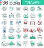 Dirigez la ligne plate de couleur de voyage icônes d'ensemble pour des apps et le web design icônes de déplacement d'aventures Photos libres de droits