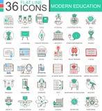 Dirigez la ligne plate de couleur moderne d'éducation icônes d'ensemble pour des apps et le web design Icônes d'éducation d'Inter Photo stock