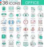 Dirigez la ligne plate de couleur moderne de bureau icônes d'ensemble pour des apps et le web design Photo libre de droits