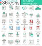 Dirigez la ligne plate de couleur moderne de gestion d'entreprise icônes d'ensemble pour des apps et le web design Images libres de droits