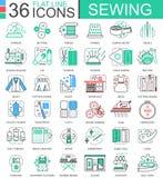 Dirigez la ligne plate de couture icônes d'ensemble pour des apps et le web design Icône de couture Images libres de droits