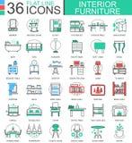 Dirigez la ligne plate de meubles intérieurs icônes d'ensemble pour des apps et le web design Icônes de collection de meubles Photographie stock