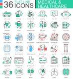 Dirigez la ligne plate de soins de santé de couleur moderne médicale de médecine icônes d'ensemble pour des apps et le web design Image stock