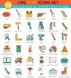 Dirigez la ligne plate ensemble d'outils de construction et de bâtiment d'icône Conception moderne de style élégant pour le Web Photographie stock libre de droits