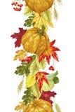 Dirigez la ligne sans couture décorative élément vertical avec l'ele d'automne illustration stock