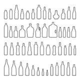 Dirigez la ligne style noire réglée d'icône de bouteilles et en verre illustration de vecteur