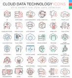 Dirigez la ligne ultra moderne icônes d'ensemble de couleur de base de données de technologie de données de nuage pour des apps e Photo stock