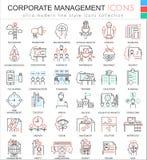 Dirigez la ligne ultra moderne icônes d'ensemble de couleur de gestion d'entreprise pour des apps et le web design Image libre de droits