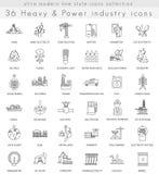 Dirigez la ligne ultra moderne icônes d'ensemble lourde et d'industrie énergétique pour le Web et les apps Images libres de droits