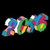 Dirigez la main colorée de patchwork dessinant la carte de voeux de nouvelles années Photos libres de droits