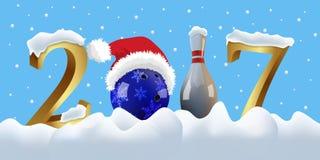 Dirigez la nouvelle année du bowling 2017 avec la boule et la goupille de bowling Image stock