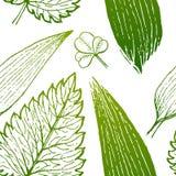 Dirigez la peinture du fond sans couture de modèle d'herbe verte avec tiré par la main Image libre de droits