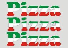 Dirigez la pizza de lettrage, trois genres de pizza de mot, icône de vecteur illustration libre de droits