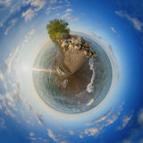 Dirigez la plage de parc national de Pelee au coucher du soleil, la vue 360 spheric Images libres de droits