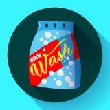 Dirigez la poudre à laver de bande dessinée, style plat de design d'emballage de poudre de blanchisserie illustration de vecteur