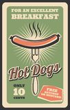 Dirigez la rétro affiche des aliments de préparation rapide de hot-dog illustration libre de droits