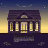 Dirigez la rétro illustration avec la vieille maison, elem décoratif floral Photo stock
