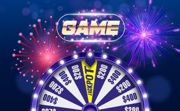 Dirigez la roue de fortune, concept de construction en ligne de casino objet 3d sur le fond bleu circulaire defocused abstrait de illustration stock