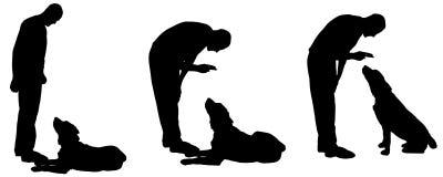 Dirigez la silhouette d'un homme avec un chien Photos libres de droits