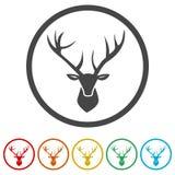 Dirigez la tête noire de cerfs communs, image de vecteur d'une tête de cerfs communs, 6 couleurs incluses Photos libres de droits