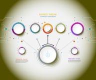 Dirigez la technologie infographic de chronologie avec le labe du papier 3D Photographie stock