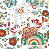 Dirigez la texture sans couture avec la fleur et l'oiseau abstraits seamless Photo stock