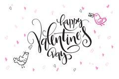 Dirigez la valentine de lettrage de main que les salutations de jour du ` s textotent - jour heureux du ` s de valentine - avec d Photographie stock