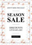 Dirigez la vente de saison jusqu'à 40 pour cent outre de la bannière avec des feuilles illustration libre de droits