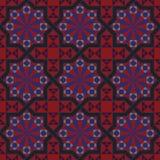Dirigez la version du modèle editable de tuile de vintage sans couture avec des motifs géométriques et floraux Image libre de droits