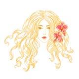 Dirigez la verticale d'une fille avec des fleurs d'orchidée. Images libres de droits