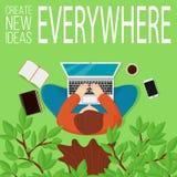 Dirigez la vue supérieure d'illustrarion de l'homme se reposant sous l'arbre avec l'ordinateur et des éléments de lieu de travail illustration de vecteur