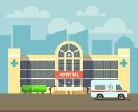 Dirigez le bâtiment d'hôpital de ville dans le style plat de conception illustration libre de droits