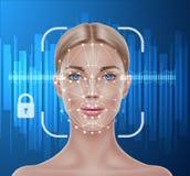 Dirigez le balayage biométrique de reconnaissance des visages de la fille illustration stock