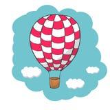 Dirigez le ballon à air chaud d'illustration, rouge et blanc Images libres de droits