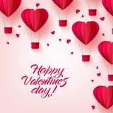 Dirigez le ballon heureux de coeur d'air chaud de jour de valentines Images stock